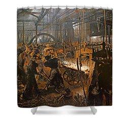 The Iron-rolling Mill Oil On Canvas, 1875 Shower Curtain by Adolph Friedrich Erdmann von Menzel