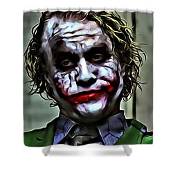 The Joker Shower Curtain by Florian Rodarte