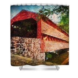 The Kissing Bridge Shower Curtain by Lois Bryan