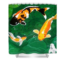 Japanese fish paintings shower curtains for sale for Koi pool thornton