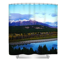 The Kootenenai River Surrounding The Canadian Rockies   Shower Curtain by Jeff Swan