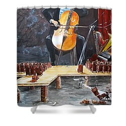 The Last Concert Listen With Music Of The Description Box Shower Curtain by Lazaro Hurtado