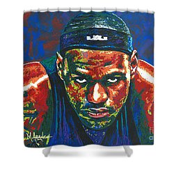 The Lebron Death Stare Shower Curtain by Maria Arango