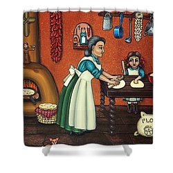 The Lesson Or Making Tortillas Shower Curtain by Victoria De Almeida
