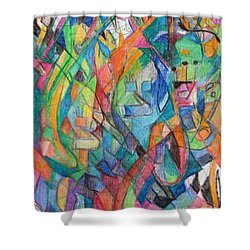 the letter Tzadi 2 Shower Curtain by David Baruch Wolk