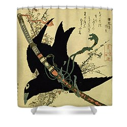 The Little Raven With The Minamoto Clan Sword Shower Curtain by Katsushika Hokusai