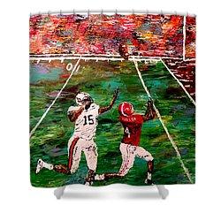 The Longest Yard - Alabama Vs Auburn Football Shower Curtain by Mark Moore