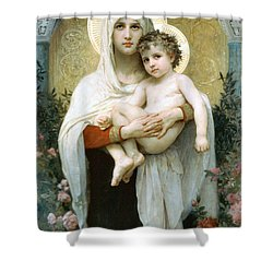 The Madonna Of The Roses Shower Curtain by William Bouguereau
