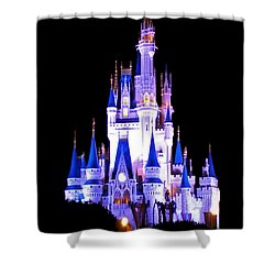 The Magic Kingdom Castle In Blue And Purple Walt Disney World Fl Shower Curtain by Thomas Woolworth