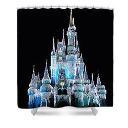 The Magic Kingdom Castle In Frosty Light Blue Walt Disney World Shower Curtain by Thomas Woolworth