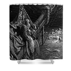 The Mariner Gazes On The Serpents In The Ocean Shower Curtain by Gustave Dore