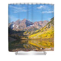 The Maroon Bells Near Aspen Colorado Shower Curtain by Alex Cassels