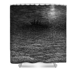 The Marooned Ship In A Moonlit Sea Shower Curtain by Gustave Dore