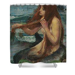 The Mermaid Shower Curtain by John William Waterhouse