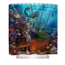 The Mermaids Treasure Shower Curtain by Aimee Stewart