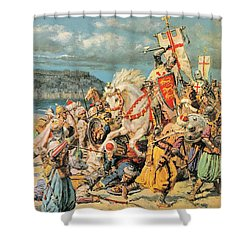 The Mighty King Of Chivalry Richard The Lionheart Shower Curtain by Fortunino Matania