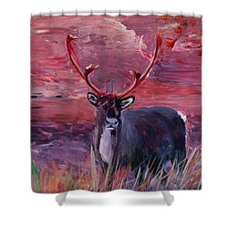 The Mighty Moose Mongoose Reindeer Elk Rentier Caribou Shower Curtain by M Bleichner