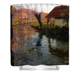 The Mill Stream Shower Curtain by Fritz Thaulow