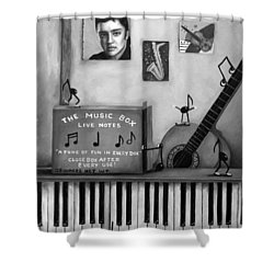 The Music Box Bw Shower Curtain by Leah Saulnier The Painting Maniac