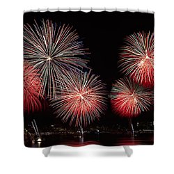 The New York City Skyline All Lit Up Shower Curtain by Susan Candelario