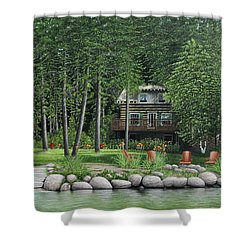 The Old Lawg Caybun On Lake Joe Shower Curtain by Kenneth M  Kirsch