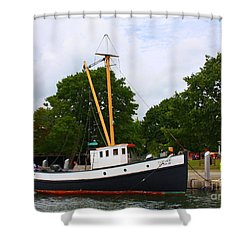 The Old Tugboat At Mystic Shower Curtain by Dora Sofia Caputo Photographic Art and Design