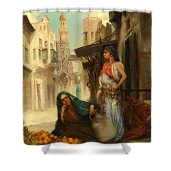 The Orange Seller Shower Curtain by Fabbio Fabbi