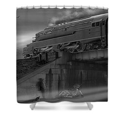 The Overpass 2 Panoramic Shower Curtain by Mike McGlothlen