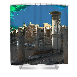 The Palaestra -temple Of Apollo Shower Curtain by Augusta Stylianou