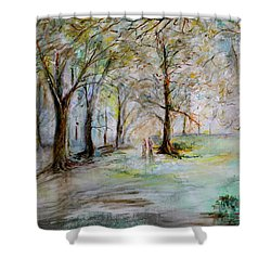 The Park Bench Shower Curtain by Jack Diamond