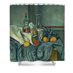 The Peppermint Bottle Shower Curtain by Paul Cezanne