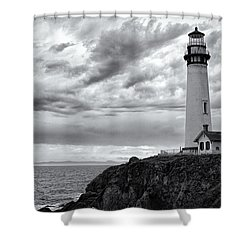 The Pigeon Point Beacon Shower Curtain by Eduard Moldoveanu