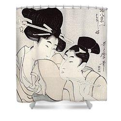 The Pleasure Of Conversation Shower Curtain by Kitagawa Utamaro