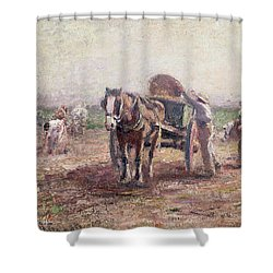 The Potato Pickers Shower Curtain by Harry Fidler