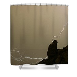 The Praying Monk Lightning Strike Shower Curtain by James BO  Insogna