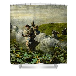 The Pumpkin Harvest Shower Curtain by Giovanni Segantini