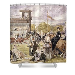 The Races At Longchamp In 1874 Shower Curtain by Pierre Gavarni