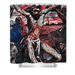 The Red Christ Shower Curtain by Lovis Corinth