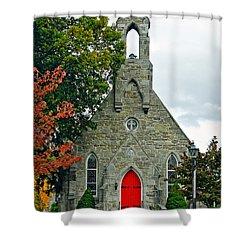 The Red Door Shower Curtain by Steve Harrington