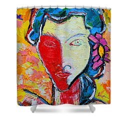The Red Half Expressionist Girl Portrait  Shower Curtain by Ana Maria Edulescu