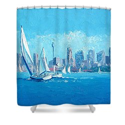 The Regatta Sydney Habour By Jan Matson Shower Curtain by Jan Matson