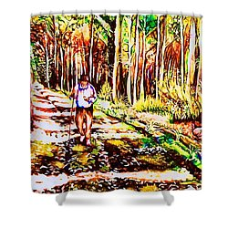 The Road Not Taken Shower Curtain by Carole Spandau