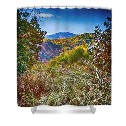The Road To Cataloochee On A Frosty Fall Morning Shower Curtain by John Haldane