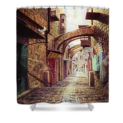 The Road To The Cross  Jerusalem Shower Curtain by Graham Braddock