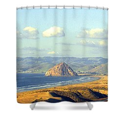 The Rock At Morro Bay Shower Curtain by Barbara Snyder
