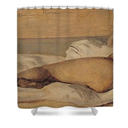 The Roman Odalisque Shower Curtain by Jean Baptiste Camille Corot