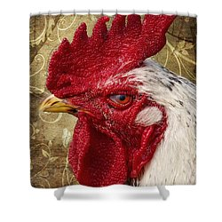 The Rooster Shower Curtain by Angela Doelling AD DESIGN Photo and PhotoArt