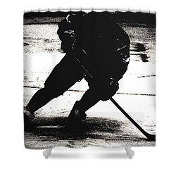 The Shadows Of Hockey Shower Curtain by Karol Livote