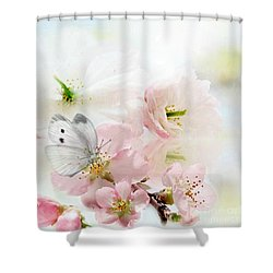 The Silent World Of A Butterfly Shower Curtain by Morag Bates