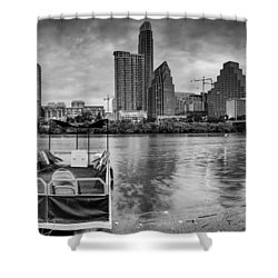 The Sky Is Will Be Crying Austin Texas Skyline Shower Curtain by Silvio Ligutti
